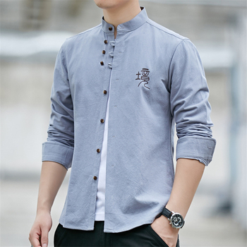 Retro Chinese Man Shirt Casual 100% Cotton Traditional Tops 2020 Male Mandarin Collar Solid Kung Fu Clothes Tunic Tang Suit