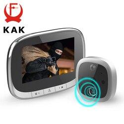 KAK 4.3 Inch LCD Screen Digital Door Viewer IR Night Vision Doorbell Camera Peephole Photo Video Record Motion Detection