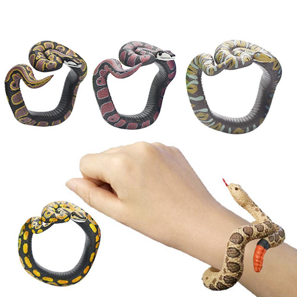 Вечерние игрушки для Хэллоуина из ПВХ Браслет из змеи реалистичный браслет из змеи имитация змеи браслет на запястье страшные озорные игру...