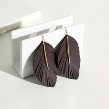 Doreen Box Personality Elegant Faux Leather Earrings Dark Coffee Leaf Exquisite Earring Jewelry For Women 90mm x 50mm, 1 Pair