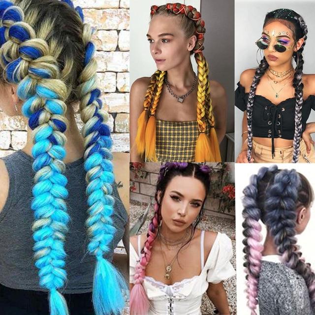 "24""Jumbo Braid Crochet Hair Ombre Braiding Hair Extensions rastas Long Spit Kanekalon Synthetic Hair Braids For African Queendom"