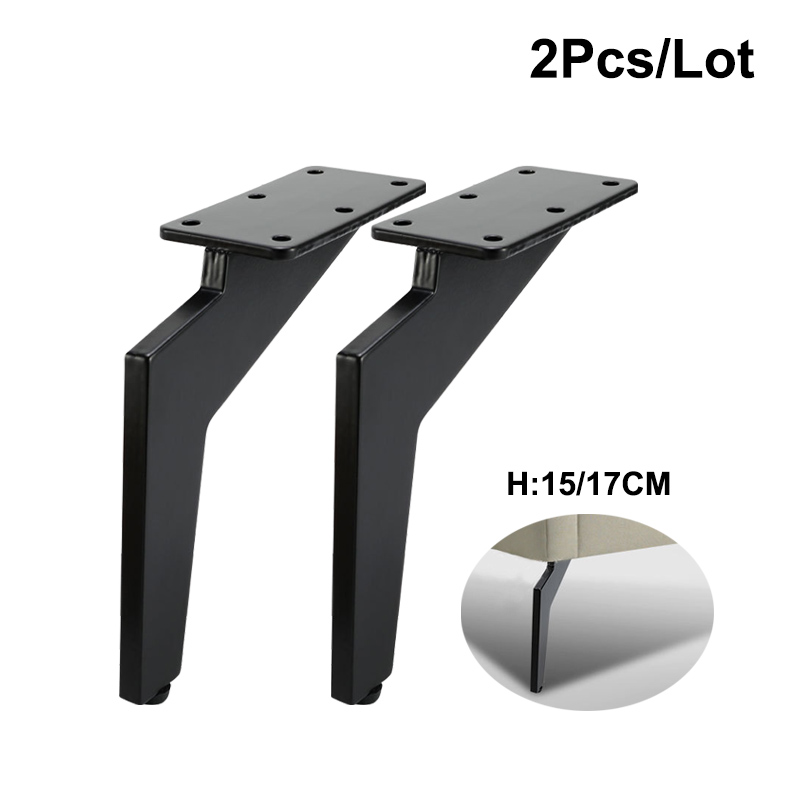 2Pcs/Set Metal Furniture Legs 145/165mm Black Sickle Table Cabinets Feet Sofa Bed TV Cabinet Legs Inclined Furniture Feet