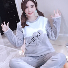 Pajama Women Thick Flannel Warm Female Winter Set Long Sleeve Full Trousers Two Piece Pajamas Animal