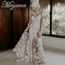Mryarce Einzigartige Moderne Braut Boho Chic Hochzeit Kleid Spitze Langen Ärmeln Bohemian Brautkleider
