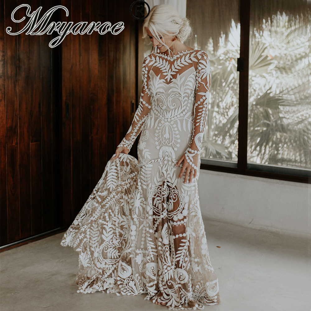 Mryarce Unique Modern Bride Boho Chic Wedding Dress Lace Long Sleeves Bohemian Bridal Gowns