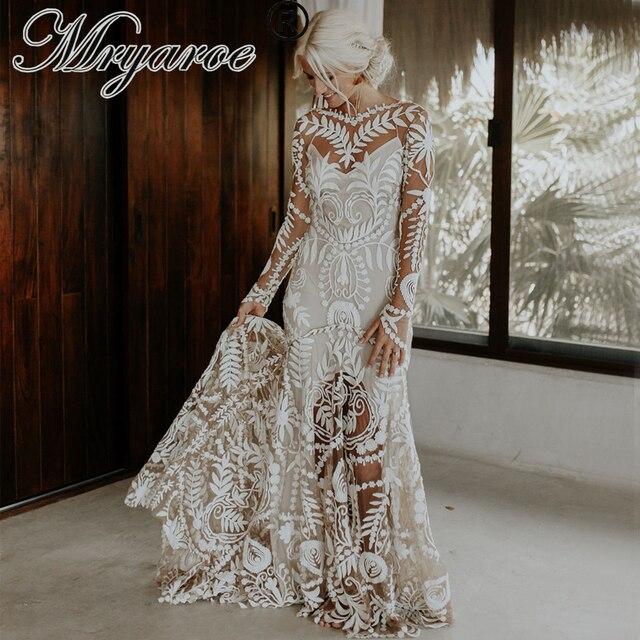 Mryarce vestido de noiva boho chique, moderno, único, vestido de noiva, com renda, mangas compridas, boêmio