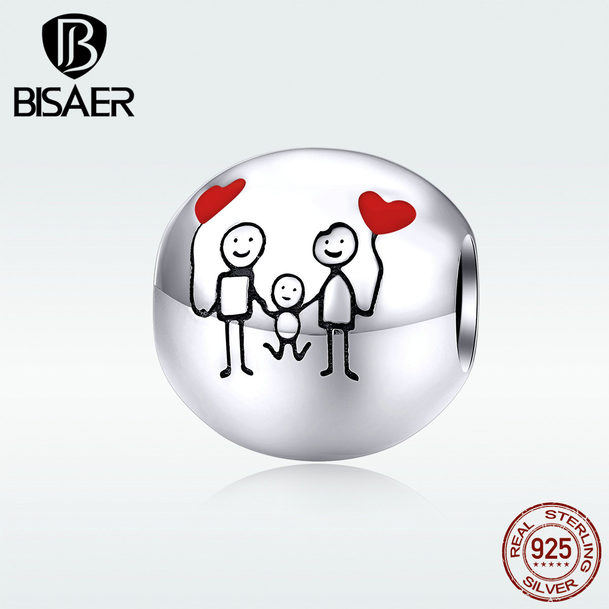 Image 5 - Family Beads BISAER Hot Sale 925 Sterling Silver Sweet Family Photo Beads Charms fit Charm Bracelets DIY Jewelry ECC1339Beads   -