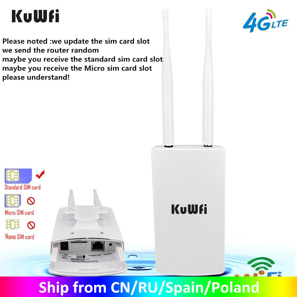 KuWFi Waterproof Outdoor 4G CPE Router 150Mbps CAT4 LTE Routers 3G 4G SIM Card WiFi Router for IP Camera Outside WiFi Coverage