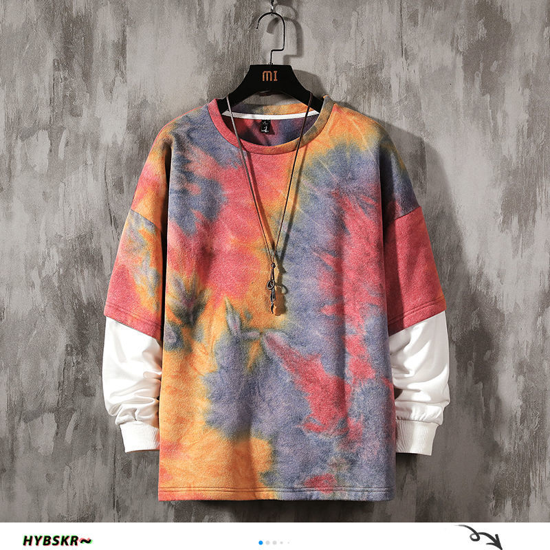 Hybskr Hip Hop Tie Dye Hoodies For Men Casual O neck Loose Sweatshirts 2020 Autumn Winter Man Casual Pullovers Tops 5XL