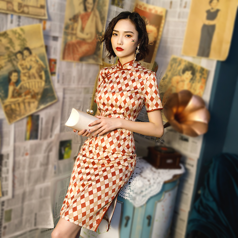 Red Rhombus Pattern Chinese Dress Spell Color Plaid Qipao Dresses Women Clothing Cheongsam Modern Vestido Chino Mujer Knee Qipao
