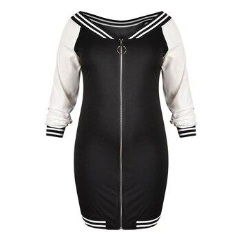 5XL Plus Size Bodycon Dress Sexy Deep V Zipper Dress Women Stripe Long Sleeve Mini Dress Elegant Slim Fit Club Dress vestido D30 4