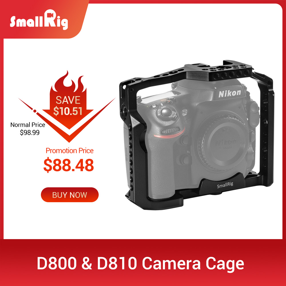 SmallRig D800 Camera Cage For Nikon D800 & D810 Camera With Nato Rail For Quick Release Camera Handle Or EVF Mount Attach 2404