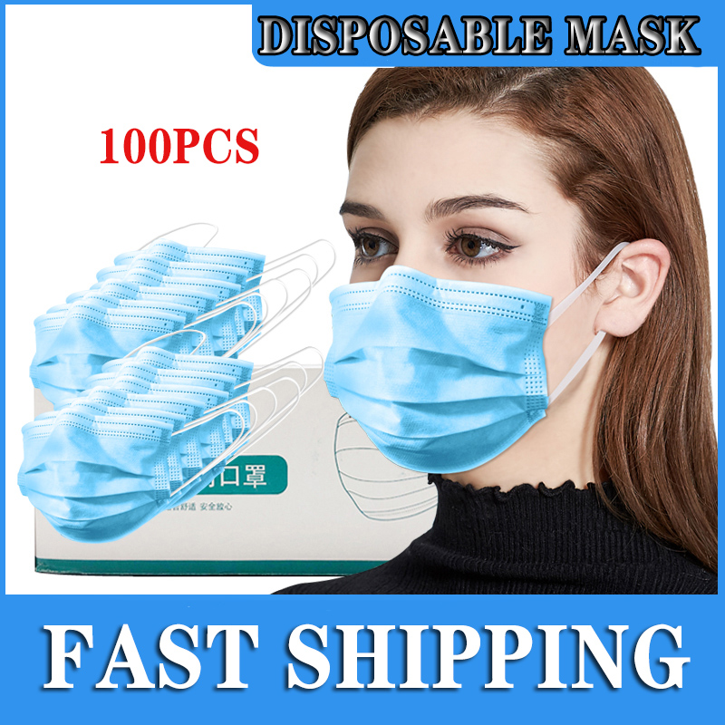 In Stock 100Pcs Antivirus Disposable Mask Virus 3 Layer Ply Filter Anti-virus Face Masks Dust BFE-N95 Meltblown Mouth Mask