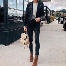 Women jeans Dark slim casual wild High waist straight jeans Ankle-length pants