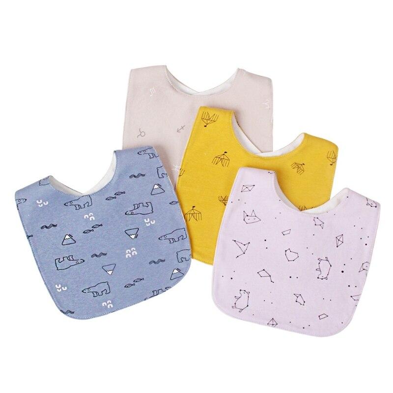4Pcs/Set Baby Infants Soft Cotton Saliva Towel Cartoon Printing Feeding Bibs Toddler Newborn Waterproof Burp Cloth