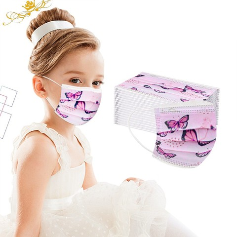 Rosto das Crianças dos Desenhos Máscara Descartável Animados Rosa Borboleta 3ply Industrial Orelha Loop Respirável Tecido Não Tecidos Facial 50 – 100pcs