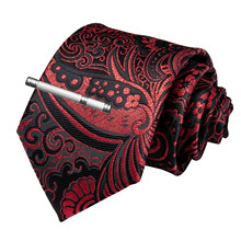 High Quality Men Tie Red Black Paisley Silk Wedding Tie For Men DiBanGu Designer Hanky Cufflinks Clip Set Dropshipping MJ-7188 new designer quality men s tie red solid paisley silk wedding tie for men dibangu hanky cufflinks clip set dropshipping mj 7190