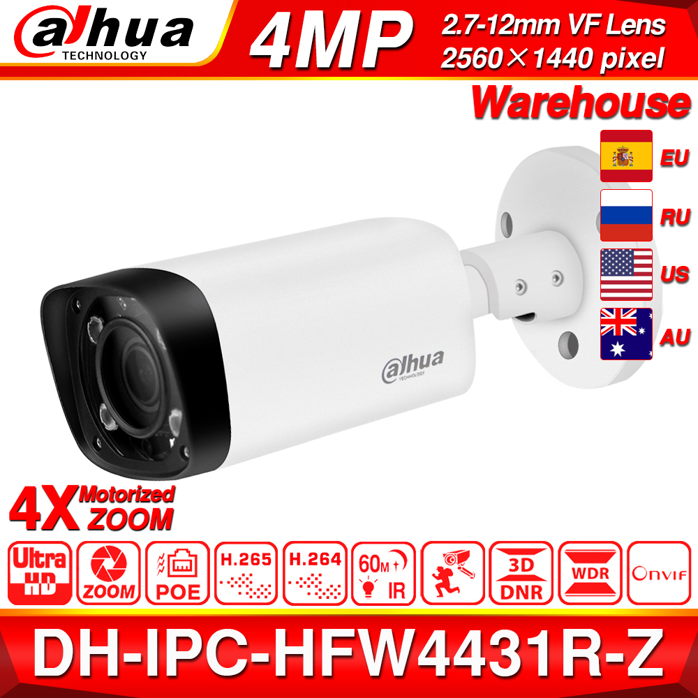Dahua IPC-HFW4431R-Z 4MP Night Camera 60m IR 2.7~12mm VF lens Zoom Auto Focus 80M IR Bullet H.265 POE IP Camera CCTV Security