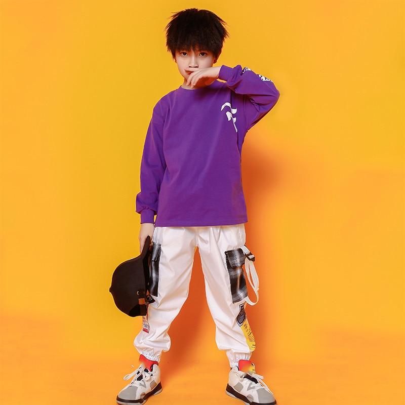 Boys Hip Hop Costumes Purple Shirts Fashion Ballroom Dance Costume Girls Jazz Clothes Set Loose Pants Dancewear for Children (8)