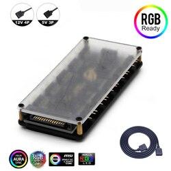 Разветвитель концентратора RGB 5 В, 3pin, 12 В, 4pin, 10 портов, с PMMA чехол, адаптер ASUS AURA SYNC, RGB для GIGABYTE MSI ASRock, Светодиодная лента RGB, легкая