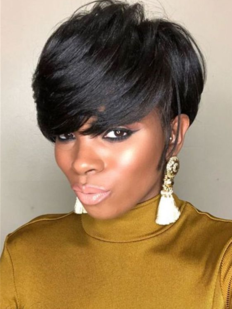 HANNE Hair Remy Human Hair Wigs Pixie Cut Wigs Short straight Wig 27/30/Burg Brazilian Human Wig for Black Women Free Shipping