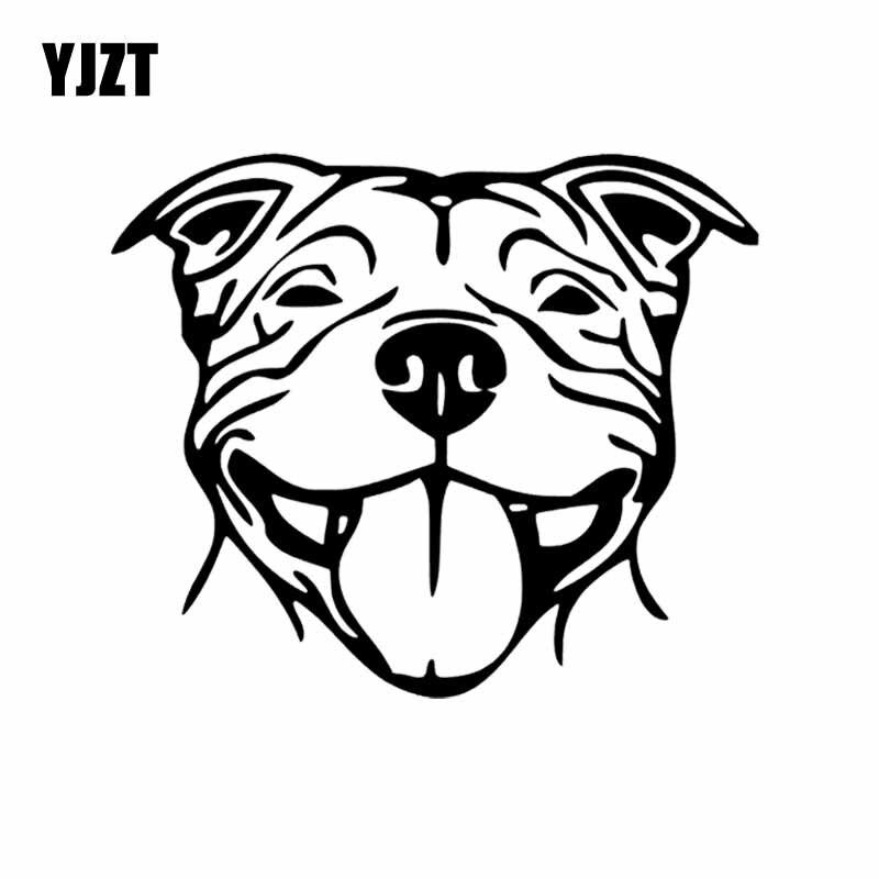 YJZT 16X13.5CM Staffy Staffordshire Bull Terrier Staffie Dog Vinyl Decal Car Sticker Car Window Decor Black/Silver C24-1132