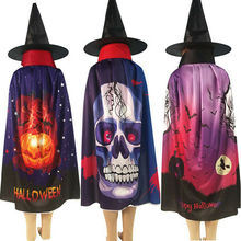 Halloween Children Costumes Witch Wizard Cloak Cape Hat Kids Boys Girls Cosplay party Photo Props