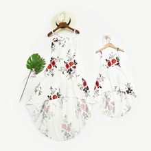 Strapless Strap Mother Daughter Dresses Mommy and Me Clothes Flower Mom Mum Mama and Girls Dress Family Matching Outfits Look недорого