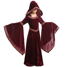 Girls Children Halloween Costumes Cosplay Vampire Capes Hooded Cloak Performance Clothing Witch Costume Medieval