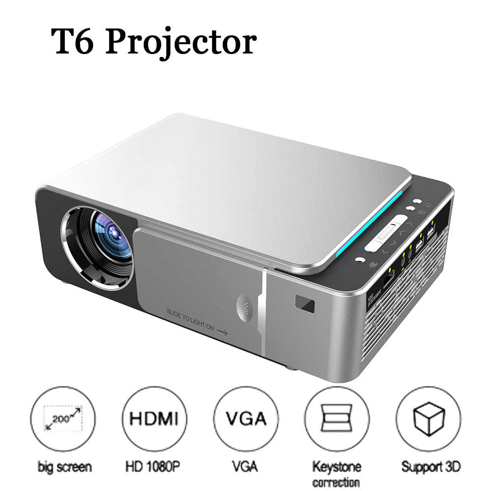 T6 Projector Full HD LED Proyektor Mini 3500 Lum HDMI USB 1080 P Video Projecteur WIFI Android Portable Home Theater projetor