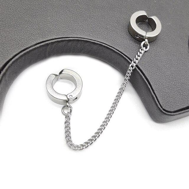 WIWI 100% acier inoxydable pince-on faux boucles doreilles Non piercing Earcuff oreille Clip boucles doreilles sans Piercing Punk personnalité bijoux