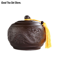 Dragon Tea Caddy Purple Clay Puer Green Tea Storage Box Candy Jar Cookies Dried Fruit Nut Seal Box Container Coffee Accessories(China)