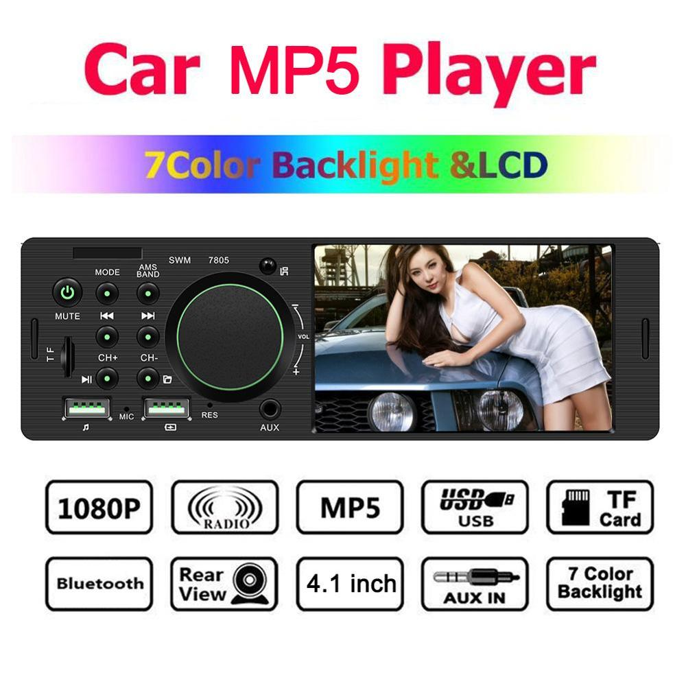 1 Din Car Multimedia Audio Player 4 Inch Car Radio Audio Stereo FM Radio Bluetooth MP5 Player Support Android IOS Camea image