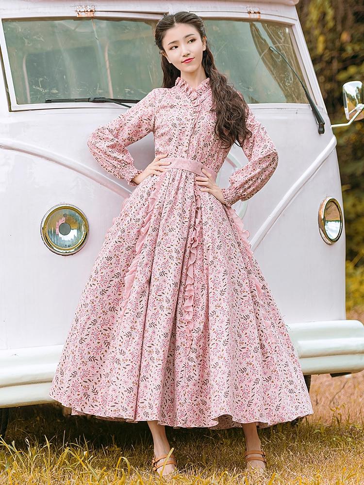Livraison gratuite Boshow 2019 mode femmes Long Maxi lanterne manches fleur imprimer printemps et automne bohème robe S-L taille haute