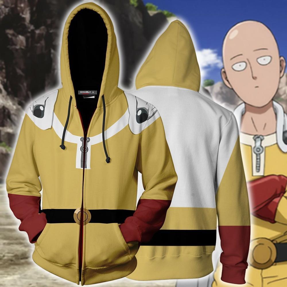 One Punch Man Hero Saitama Oppai Cosplay Costume Hooded Jacket Sweater Hoodie
