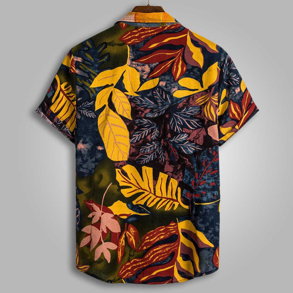 Summer turn down collar 반팔 하라주쿠 남성 셔츠 패션 남성 하와이 블라우스 quality loose casual beach henley shirts