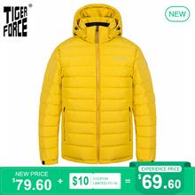 TIGER siły 2020 nowych mężczyzna kurtka zimowa dla mężczyzn odzieży średniej długości-długi z kapturem kurtki grube żółty na co dzień ciepła Parka płaszcz 70769 tanie tanio TIGER FORCE CN (pochodzenie) COTTON Poliester REGULAR TFSW-70769N Suknem zipper NONE Kieszenie Zamki Stałe 1Kg(size L)