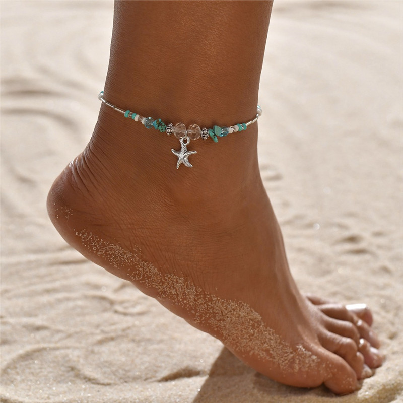 WUKALO Bohemian Starfish Beads Stone Anklets for Women Vintage Female Adjustable Anklet Bracelet on Leg Beach Ankle Jewelry