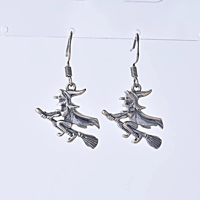 Handmade Clip On Witch and Broom Halloween Dangle earrings