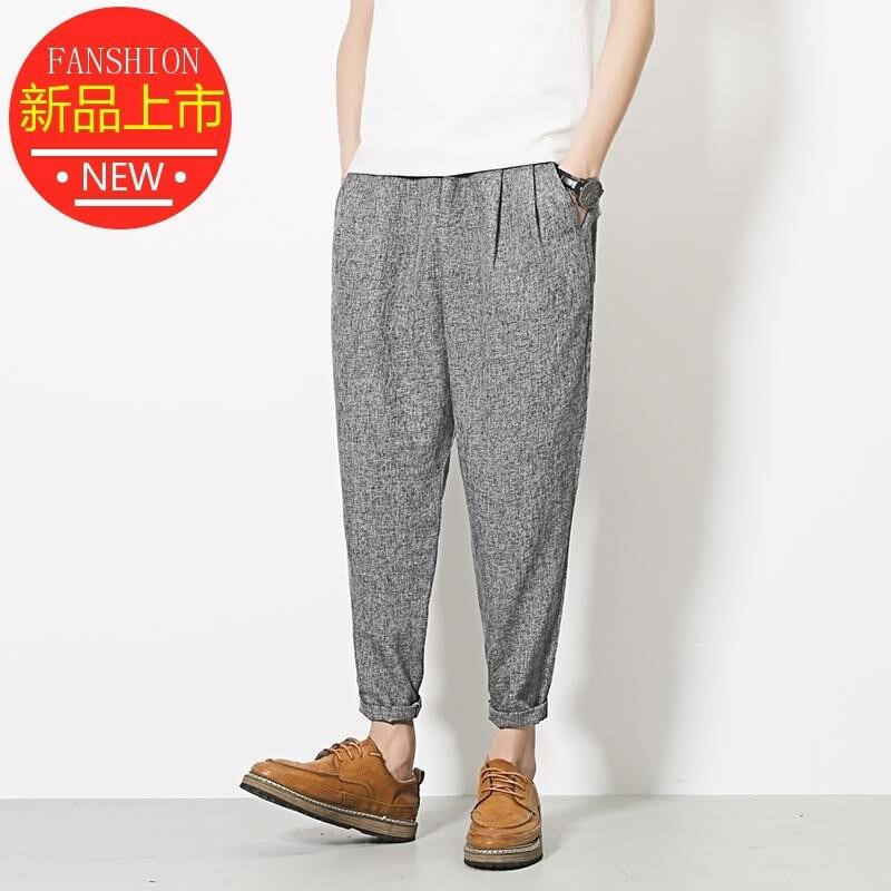 Men Summer Loose-Fit MEN'S Trousers Sub-Cotton Linen Casual Pants Thin Capri Pants Harem Pants 9 Points And 8 Eight Fashion