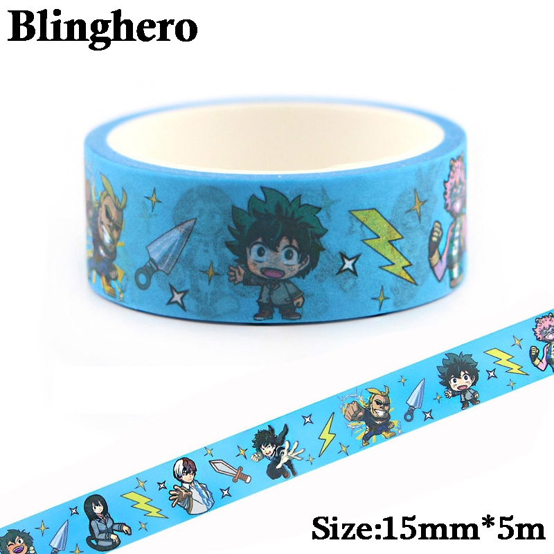 CA442 1.5cm X 5m My Hero Academia Kawaii Washi Tape Set Japanese Paper Masking Tape Tapes Stickers Decor Stationery Tape