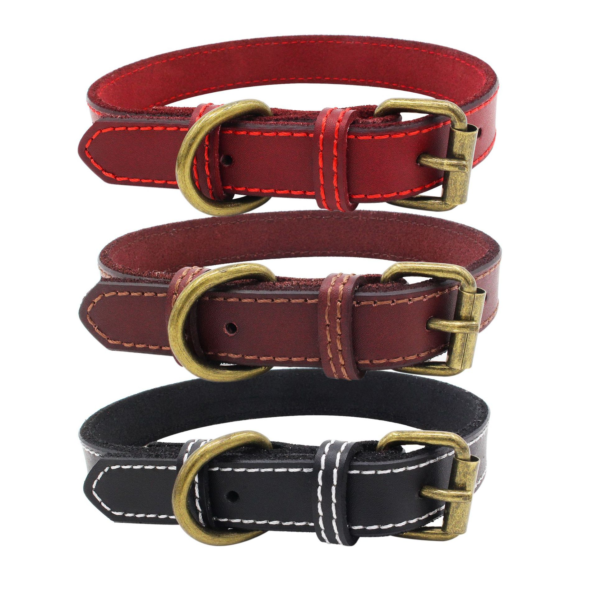 Pure Cowhide Bite-proof Protector Bronze Retro Pet Collar Natural Leather Dog Neck Ring Cow Leather Collar Manufacturers Current