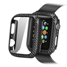 Funda con patrón de fibra de carbono para Apple Watch, accesorios para iWatch series 5 4 3 2 1 40mm 44mm 42mm 38mm 40 42 38 44mm