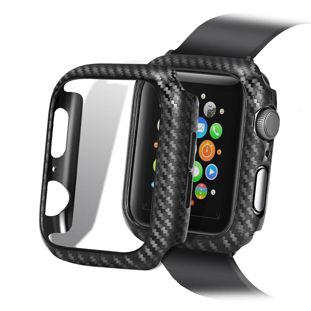 Funda con patrón de fibra de carbono para Apple Watch series 5, 4, 3, 2, 1, 40, 40, 42, 38 o 44mm, accesorios para iWatch