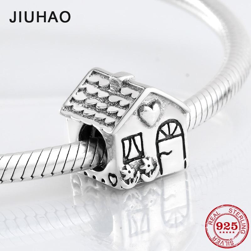 2018 Fashion 925 Sterling Silver Fairy Tale Sweet House Shape Beads Fit Original Pandora Charm Bracelet Jewelry Making