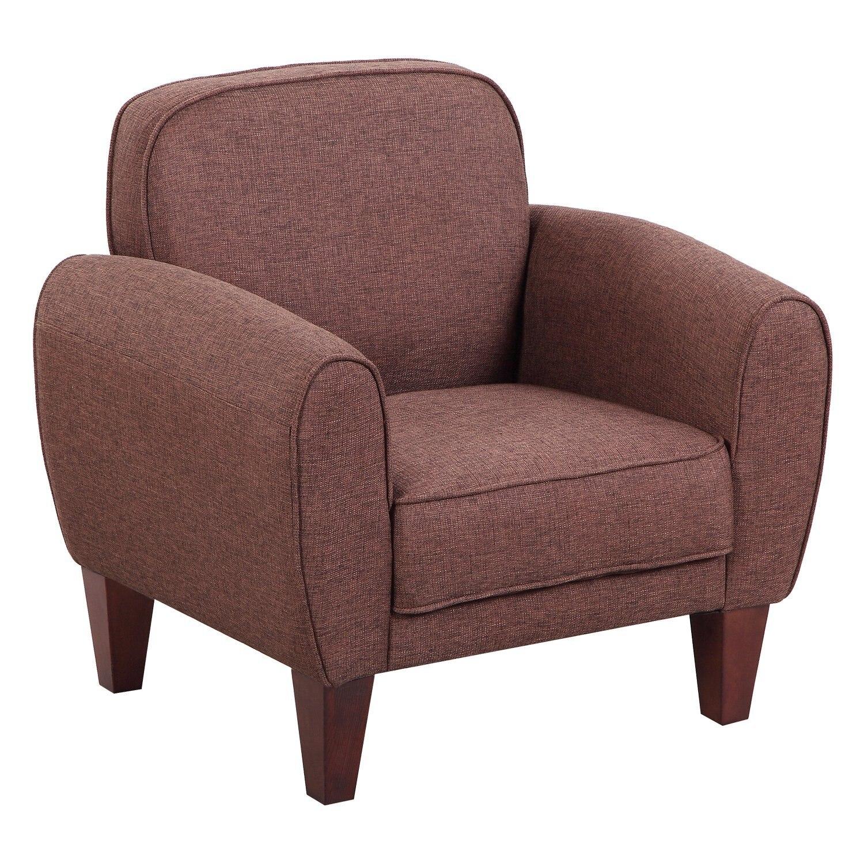 HOMCOM Chair Elegant Classical Linen Fabric 84x65x82.4 Cm Brown