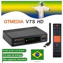 Receptor de tv por satélite hd de brasil gtmedia v7s com caixa de tv usb wifi decodificador cs powervu 1080p conjunto superior caixa receptor estoque no brasil