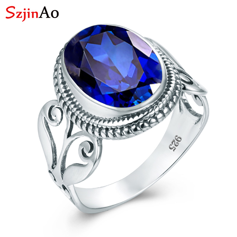 Szjinao Sterling Silver Gem Rings Sapphire S925 Genuine Gemstone Jewelry Brand Oval Vintage Sapphire Rings For Women Bijoux