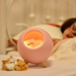 Image 2 - LED חתול אור USB מגע לילה Llight Bionic חתול Stepless עמעום אווירת לילה אור חדר קישוט מנורת חג מתנה