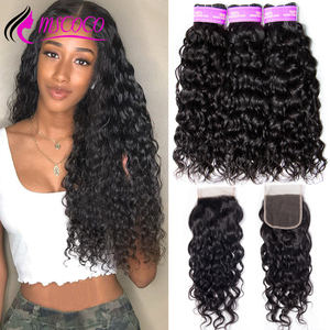 Mscoco Hair Water Wave Bundles With Closure Remy Brazilian Hair Weave 3 Bundles Wet And Wavy Human Hair Bundles With Closure(China)